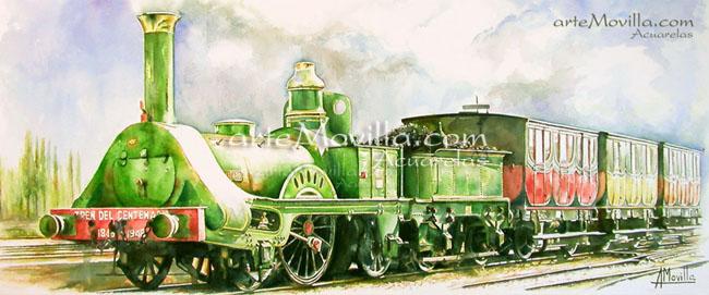 arteMovilla - Mª Ángeles Movilla Prieto - Tren del Centenario 1848. Locomotora Mataró. Acuarela de 55 x 102 cm
