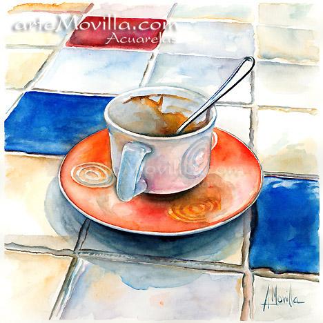 arteMovilla - Mª Ángeles Movilla Prieto - Taza de Café con plato naranja. Acuarela de 28 x 28 cm.