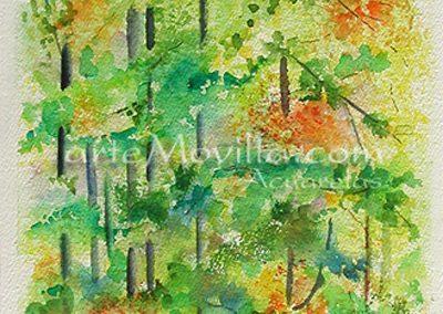 M. Angeles Movilla - Arboles en otoño (I) Acuarela 53x25cm