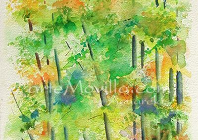 M. Angeles Movilla - Arboles en otoño (II) Acuarela 53x25cm
