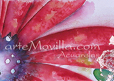 M. Angeles Movilla - Bosque en otoño Acuarela sobre tela 45x60cm