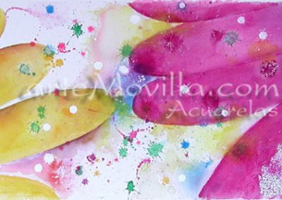 M. Angeles Movilla - Flores nevadas Acuarela 34x106cm