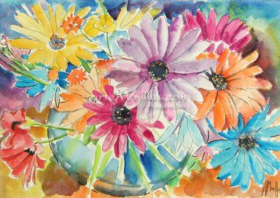 M. Angeles Movilla - Jarrón con flores Acuarela 21x30cm