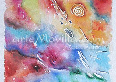 M. Angeles Movilla - Nebulosa verde Acuarela 32x77cm